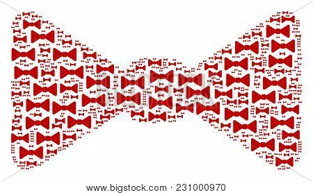 Bow Tie Figure Organized In The Collection Of Bow Tie Design Elements. Vector Iconized Composition M
