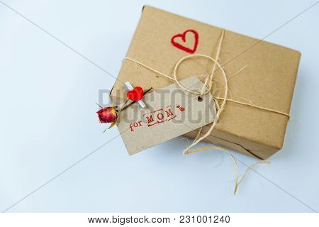 Craft Gift Box For Mother Day On White Background
