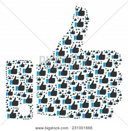Thumb Up Figure Composed In The Group Of Thumb Up Icons. Vector Iconized Collage Organized With Simp