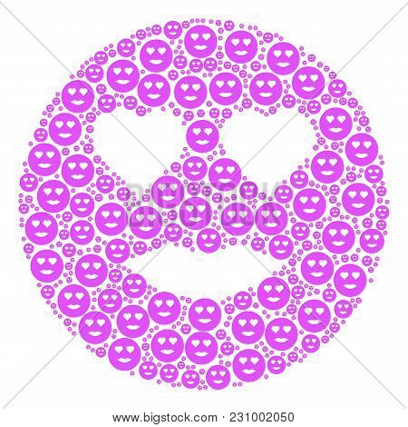Lady Love Smiley Figure Composed In The Set Of Lady Love Smiley Design Elements. Vector Iconized Com