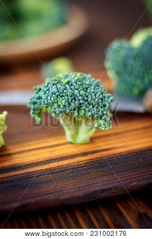 Fresh Broccoli Florets Staying On The Kitchen Board Like A Tree