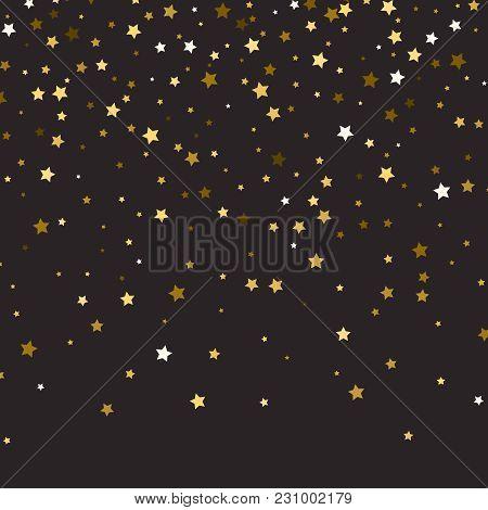 Abstract Pattern Of Random Falling Gold Stars On Black Backgroun