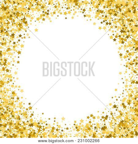 Gold Stars On A White Background. Golden Stars On A White Square