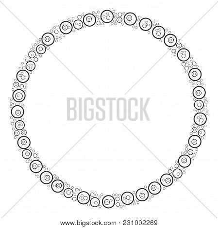 Circle Bubble Collage Composed In The Set Of Circle Bubble Pictograms. Vector Iconized Collage Made