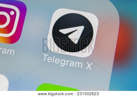 Sankt-petersburg, Russia, March 13, 2018: Telegram X Application Icon On Apple Iphone X Screen Close