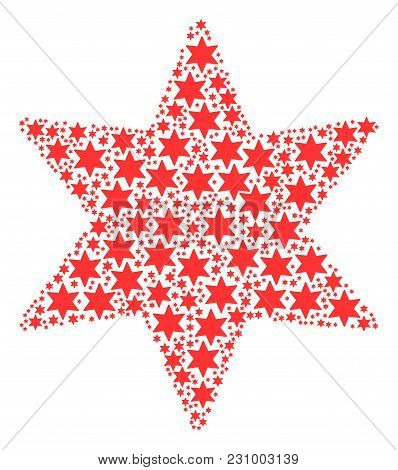 Fireworks Star Pattern Organized In The Shape Of Fireworks Star Pictograms. Vector Iconized Composit