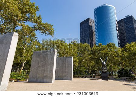 Bronze Eagle Statue And Grey Granite Pylons Inside The East Coast Memorial.