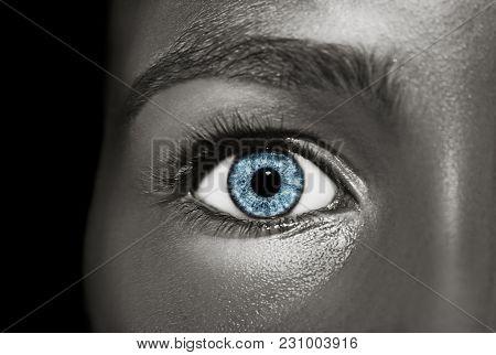 Glamour Shiny Metallic Professional Makeup. Beautiful Metallic Skin Close Up