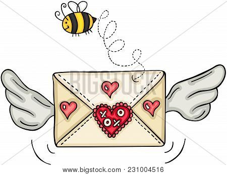 Scalable Vectorial Representing A Love Envelope With Wings And Bee, Element For Design, Illustration