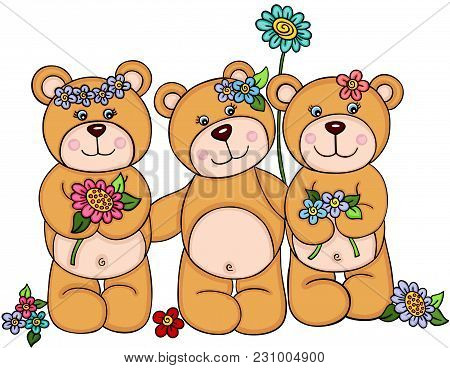Scalable Vectorial Representing A Three Girl Teddy Bears With Flowers, Element For Design, Illustrat