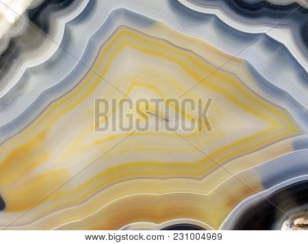 Cross Section Of Agate, A Translucent Microcrystalline Quartz, Usually Formed By Deposits Of Silica