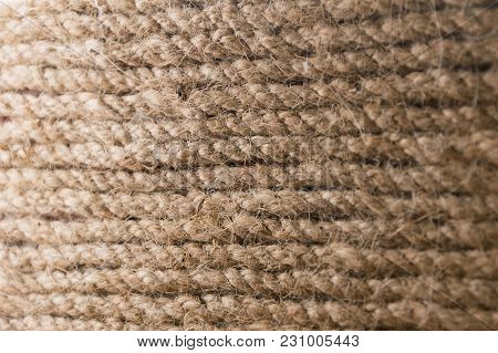 Old Rope Texture Pattern Background. Brown Rough Material Structure Of Strong Thread, Closeup Select