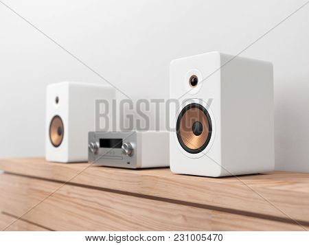 Micro Hi-fi Stereo System Mockup, Network Receiver,  Cd And Mp3 Player, 3d Rendering