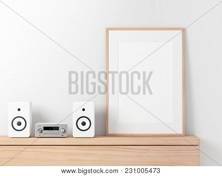 Poster Frame Mockup With Micro Component Stereo System On Shelf, 3d Rendering