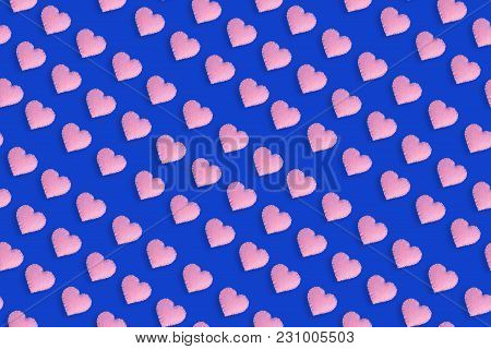 Pink Heart Shapes On Blue Background, Cute Pattern For Valentines Day Or Wedding.