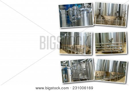 Collage Equipment For Beer Production, Private Brewery, Contemporary Large Steel Barrels In Winery,