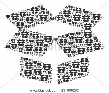 Open Box Pattern Organized In The Group Of Open Box Icons. Vector Iconized Composition Organized Wit