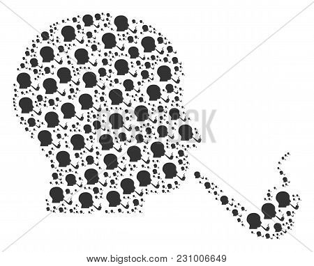 Smoking Detective Composition Organized In The Shape Of Smoking Detective Design Elements. Vector Ic