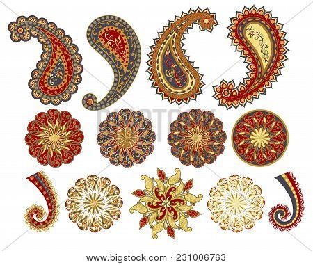 Vector Decorative Paisley, Mandala Elements. Isolated Floral Design Elements In Ethnic Oriental Styl
