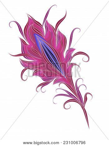 The Feather Of A Magical Bird. The Feather Of A Fantastic Bird. Vector Isolated Feather In Vintage S