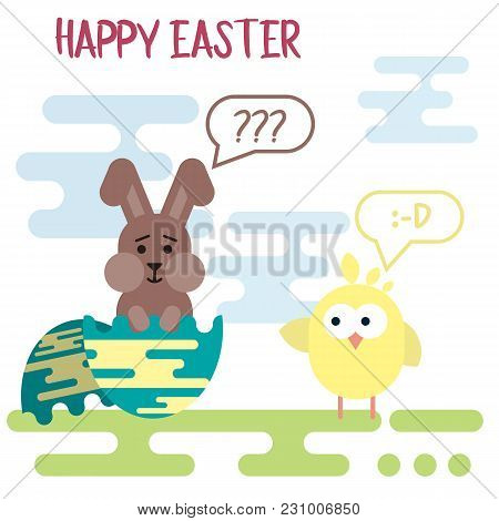 Vector Flat Easter Card Template With Confused Bunny In The Egg Shell And Spiteful Chicken.