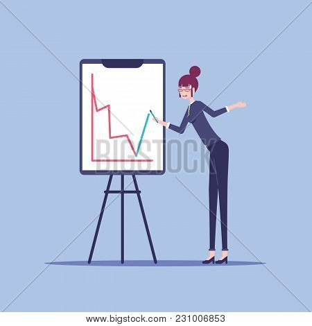 Young Businesswoman Stands Next To The Flip Chart Board Which Shows A Red Negative Graph And Woman T