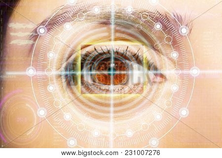 Abstract  Eye With Digital Circle. Futuristic Vision Science And Identification Concept