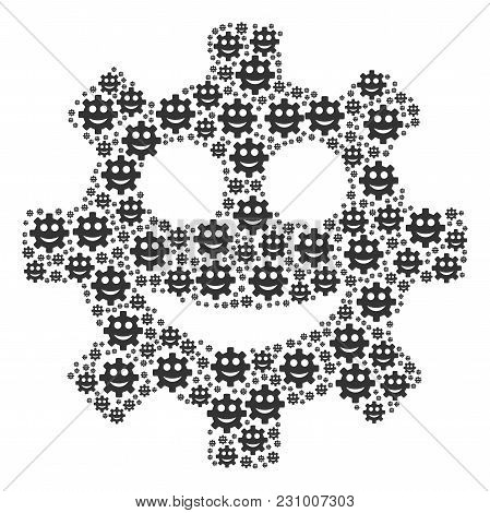 Gear Smile Smiley Pattern Created In The Combination Of Gear Smile Smiley Icons. Vector Iconized Col