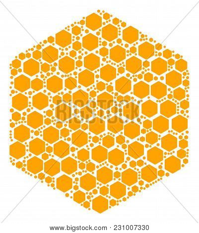 Hexagon Figure Pattern Composed In The Set Of Hexagon Figure Elements. Vector Iconized Composition M