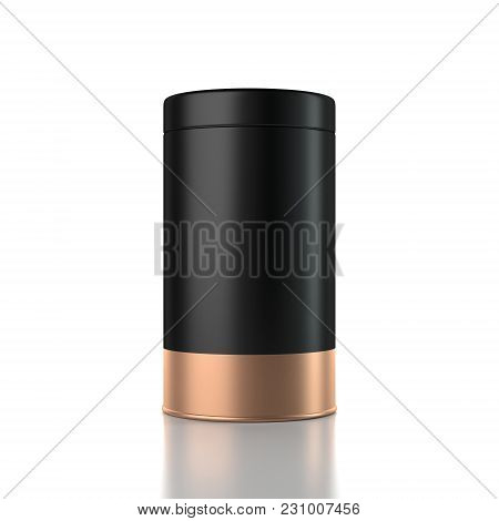 Black With Gold Aluminum Tin Can Packaging Mockup, Gift Box. 3d Rendering