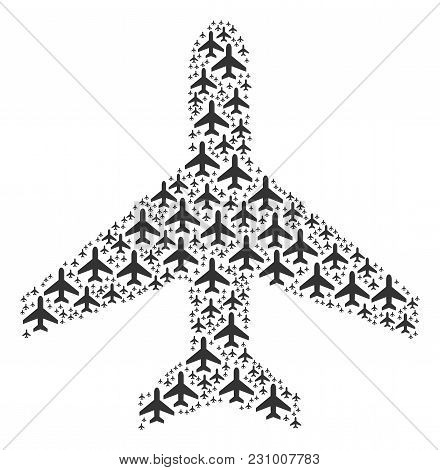 Air Plane Collage Combined In The Shape Of Air Plane Pictograms. Vector Iconized Collage Made From S