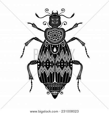 Vector Tribal Decorative Beetle. Patterned Design, Tattoo