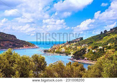 Portovenere Old Village On The Sea And Trees. Aerial View. Five Lands, Cinque Terre, Liguria Italy E