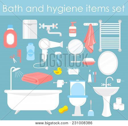 Vector Illustration Set Of Bathroom Elements. Hygiene And Toilet Icons In Flat Cartoon Style