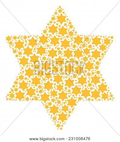 Six Pointed Star Composition Composed In The Group Of Six Pointed Star Elements. Vector Iconized Com