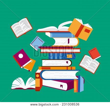 Vector Illustration Of Reading Concept. A Lot Of Books On Green Background, Poster In Flat Cartoon D