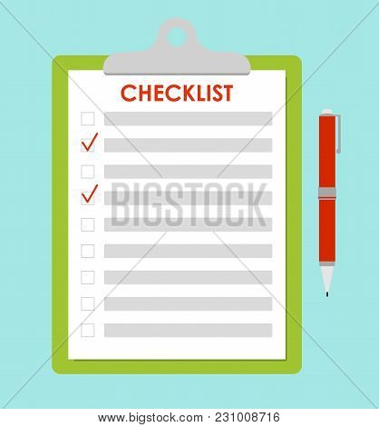 Vector Illustration Of Green Clipboard With Red Check Marks And Pen. To-do List, Survey, Exam Concep