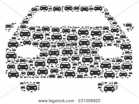Car Figure Combined In The Figure Of Car Pictograms. Vector Iconized Collage Organized From Simple D