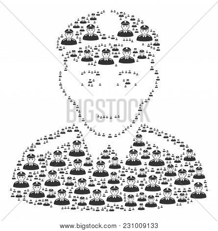 Soldier Figure Designed In The Shape Of Soldier Pictograms. Vector Iconized Collage Done With Simple