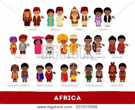Africans In National Clothes. Africa. Set Of Cartoon Characters In Traditional Costume. Cute People.