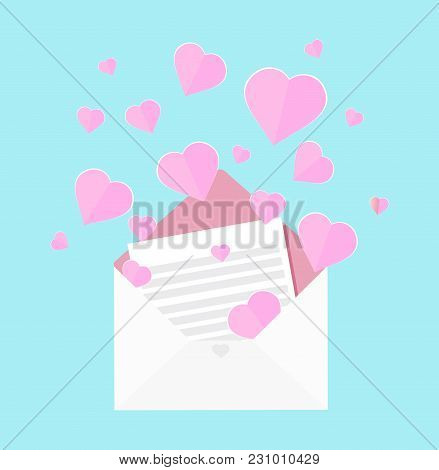 Colorful Vector Illustration Of Letter Of Love, Pink Heart Floating Out Of Envelope, Greeting Card F
