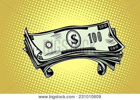 Money Hundred Dollar Banknotes. Comic Book Cartoon Pop Art Retro Vector Illustration