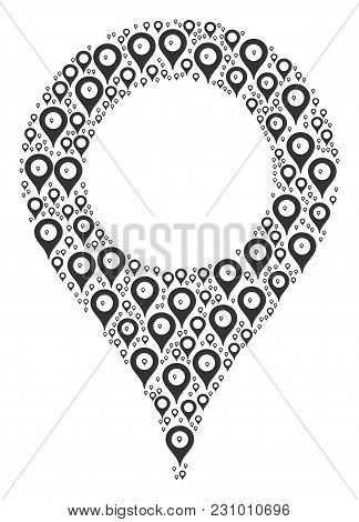 Map Marker Composition Created In The Collection Of Map Marker Design Elements. Vector Iconized Comp