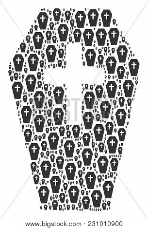 Coffin Illustration Organized In The Figure Of Coffin Icons. Vector Iconized Composition Designed Fr