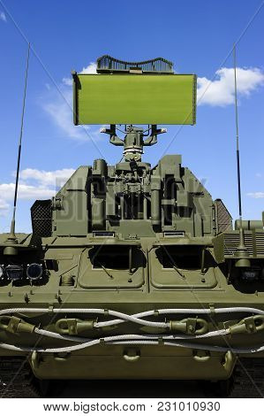 Air Defense Radar Of Military Mobile Antiaircraft System In Green Color, Modern Army Industry, Blue