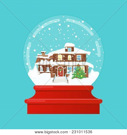 Vector Illustration Of Snow Globe With A Small House And Fir-tree Under The Snow. Merry Christmas, N