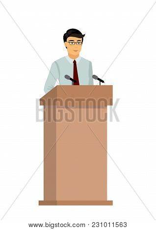 Vector Illustration Of Businessman Orator Speaking From Tribune, Man Is Giving An Interview On Publi