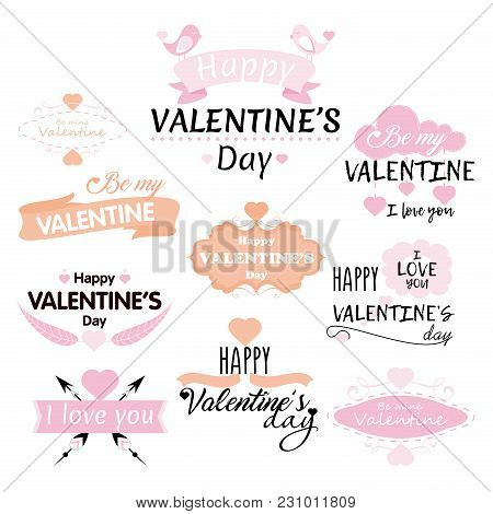 Vector Illustration Set Of Valentine S Day Inscriptions And Concepts On White Background For Greetin