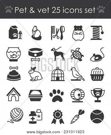 Vector Illustration Of Outline Web Icon Set - Pet, Vet, Pet Shop, Animals And All Stuff Types Of Pet