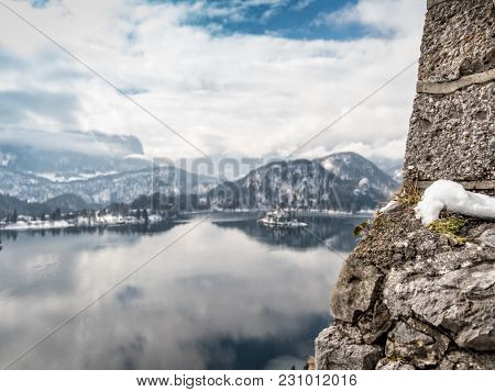 Lake Bled with the Pilgrimage Church of the Asumption of Maria on Bled island, view from the Bled Castle, Slovenia, Europe